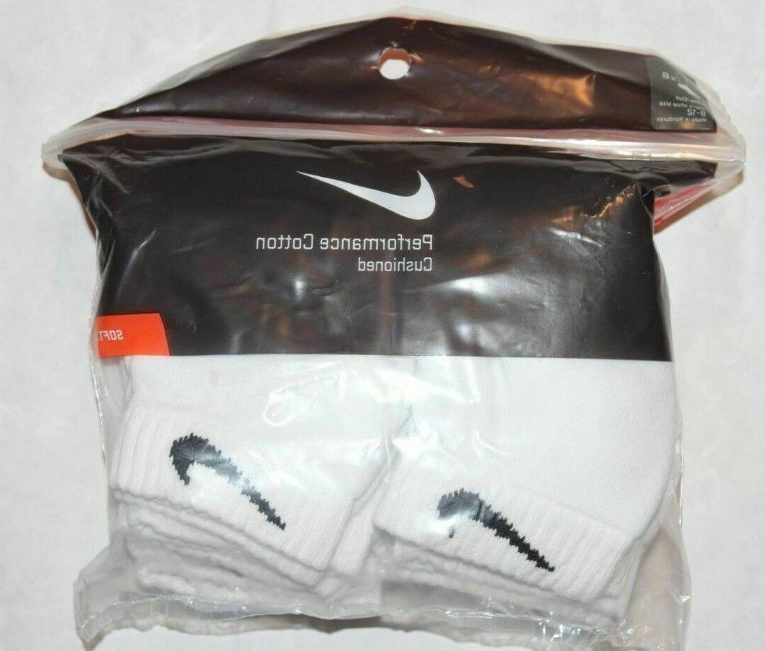 NIKE Men's White Cushioned Low Cut Socks  Large 8-12 3-6 Pai