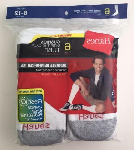 Hanes Men/'s Gray Over-The-Calf Tube Socks 6 Pairs Size 6-12 RARE FREE Shipping!