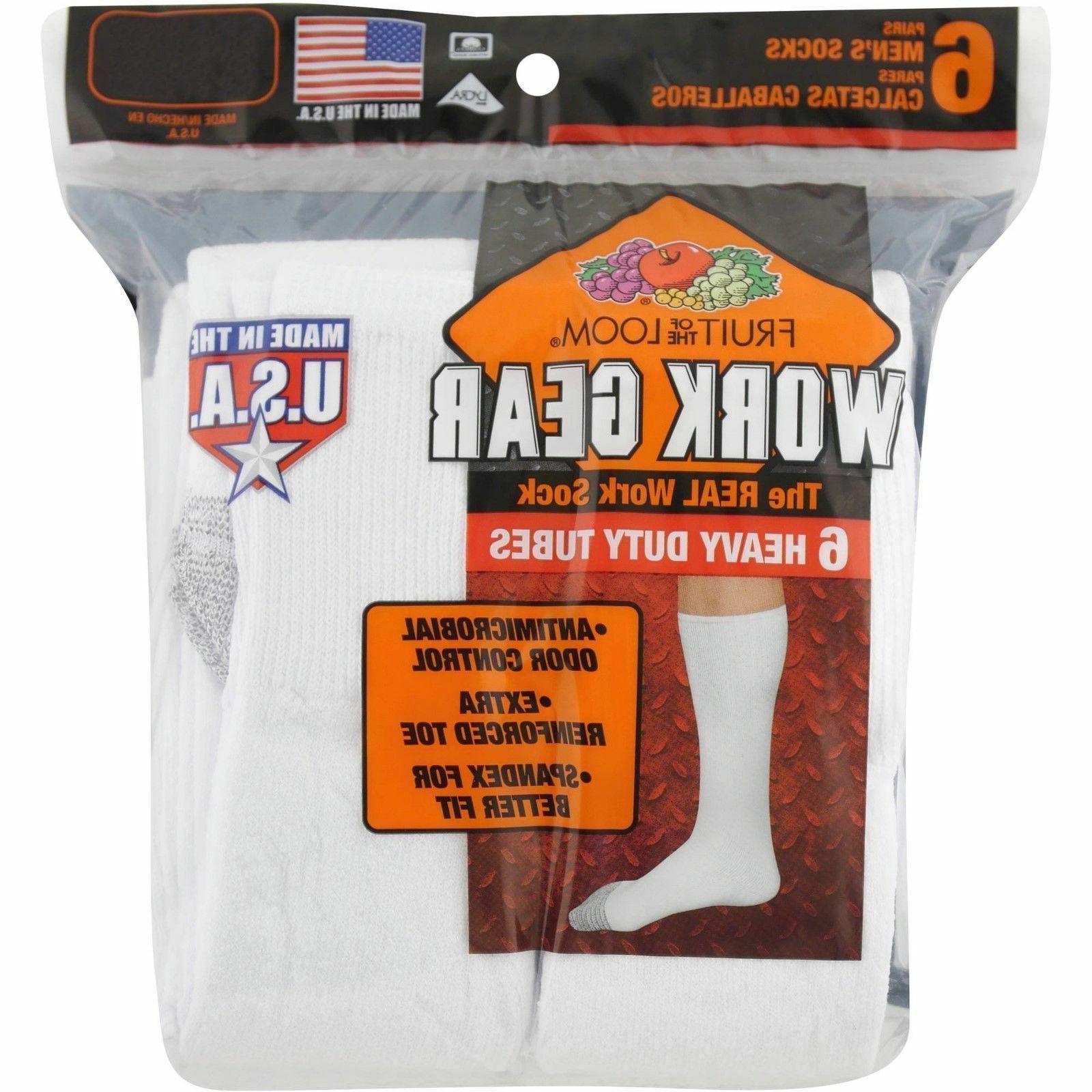 Fruit of the Loom Men's Work Gear Heavy Duty Tube Socks 6 Pa