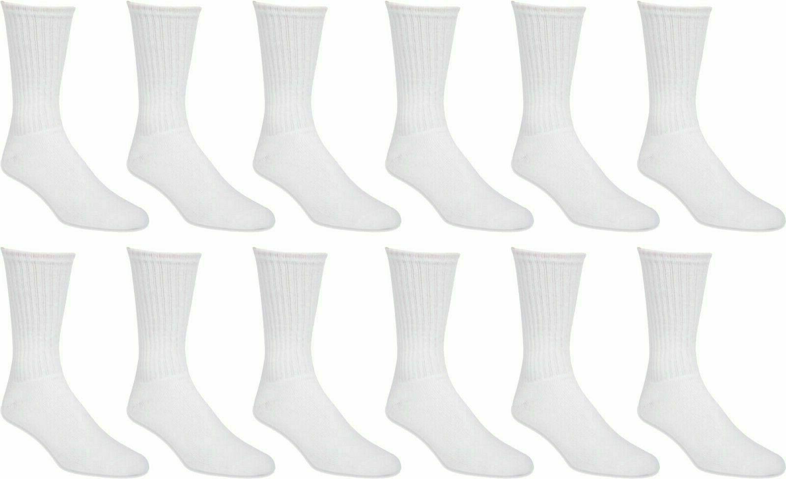 men socks work athletic crew socks sz 10-13 white