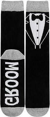 Men Day 'Groom' Crew Cotton Socks, Bow-groom, GyDa