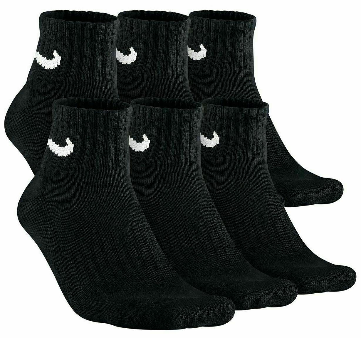 NIKE Mens 3-6-PAIRS PACK BLACK CUSHION COTTON ANKLE SOCKS Shoe