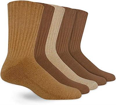 Dockers Mens 5 Pack Cushion Comfort Sport Crew Socks, Khaki
