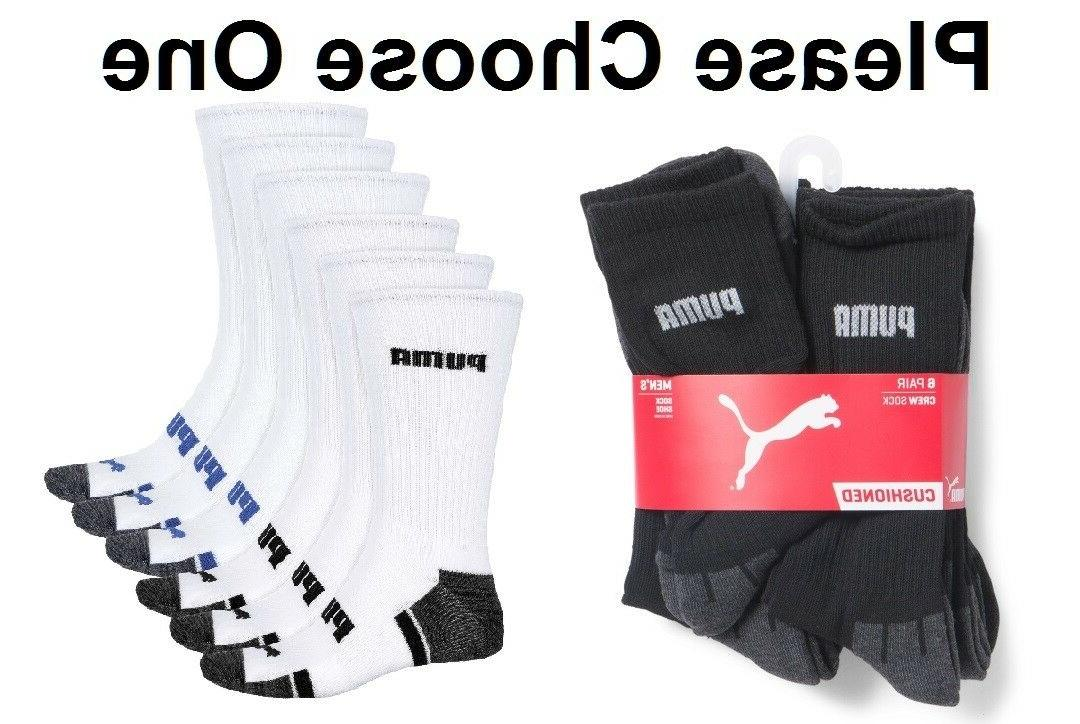 PUMA MENS 6 PACK HALF TERRY CUSHIONED CREW ATHLETIC SOCKS WH