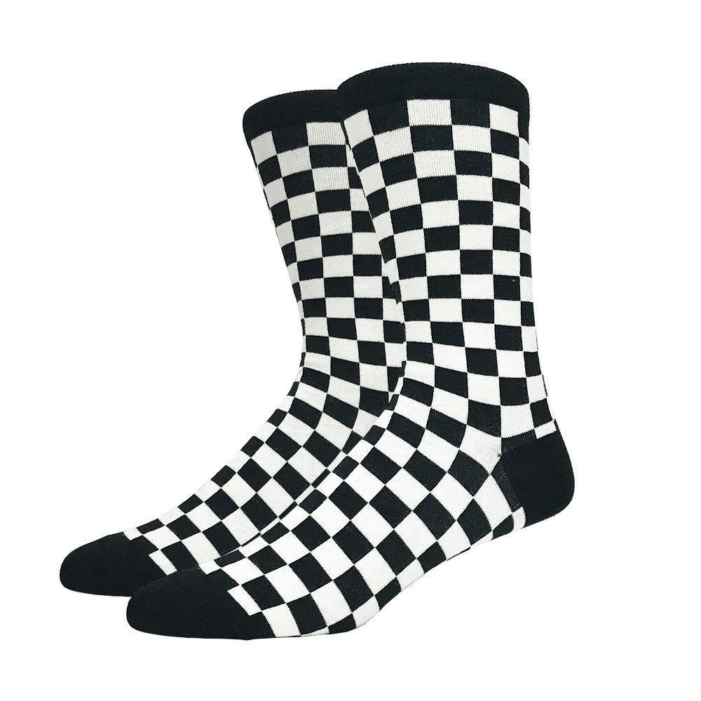 Mens Black and White Checkered Socks Checkerboard Checker Cl