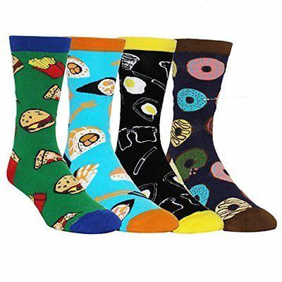 Zmart Food Crew Socks, Moisture Wick 4Pk US7-12