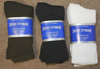 Mens Diabetic Crew Socks Size: 10-13   3 COLORS  Pick 1 pr s