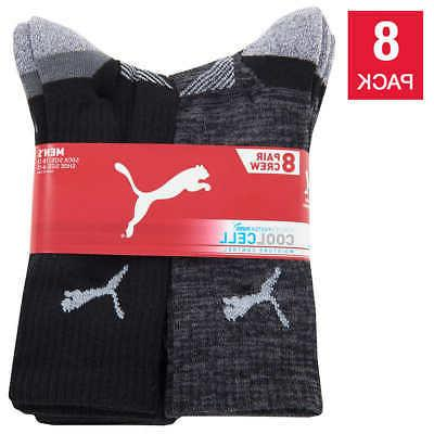 Puma Mid 8-pair Crew Sock Black White