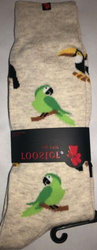 New Rooster Brand Mens Novelty Crew Socks Beige WITH PARROTS