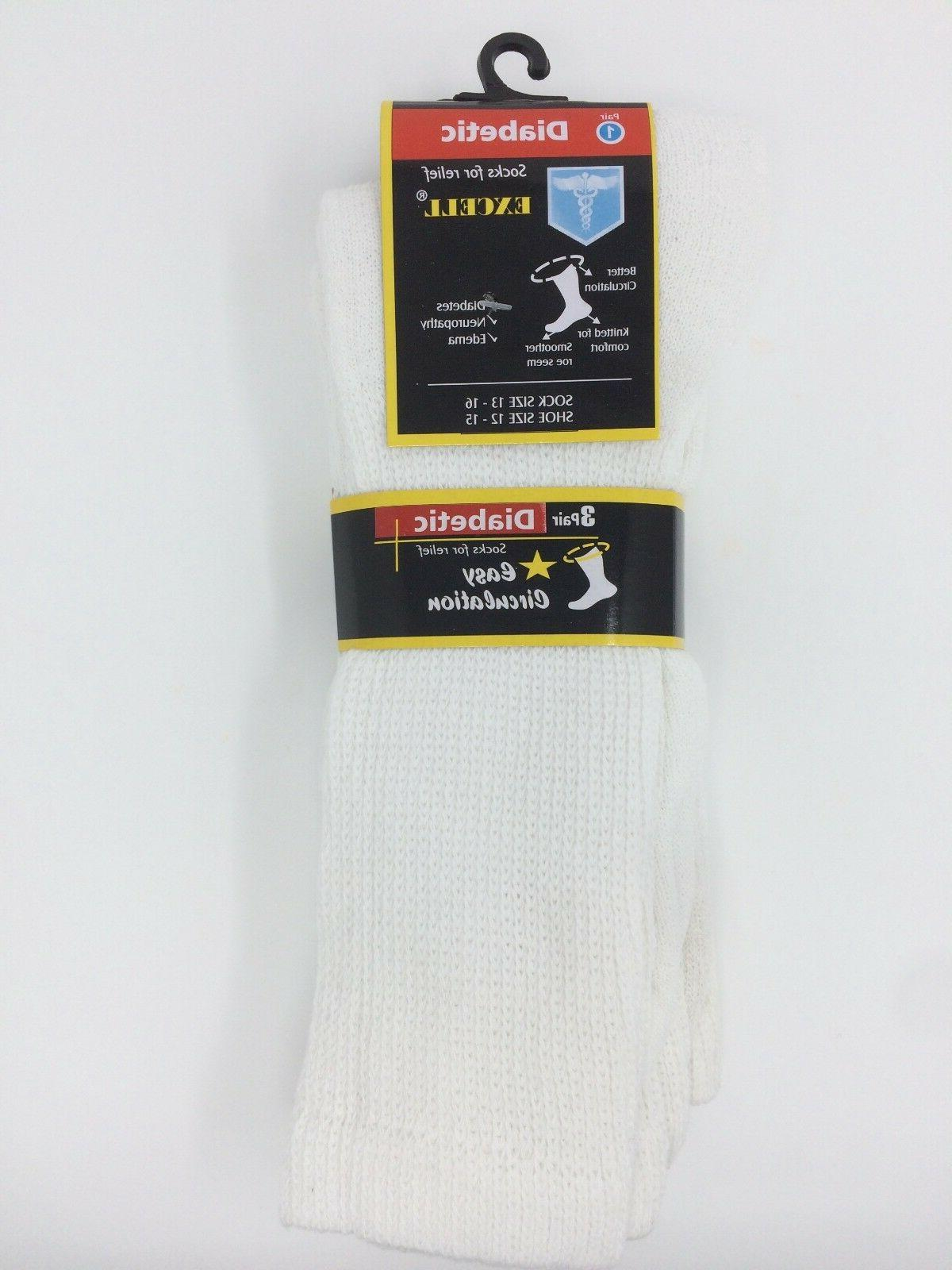 New Diabetic Men's Crew Socks s X-large Size 13-16 White 3 p