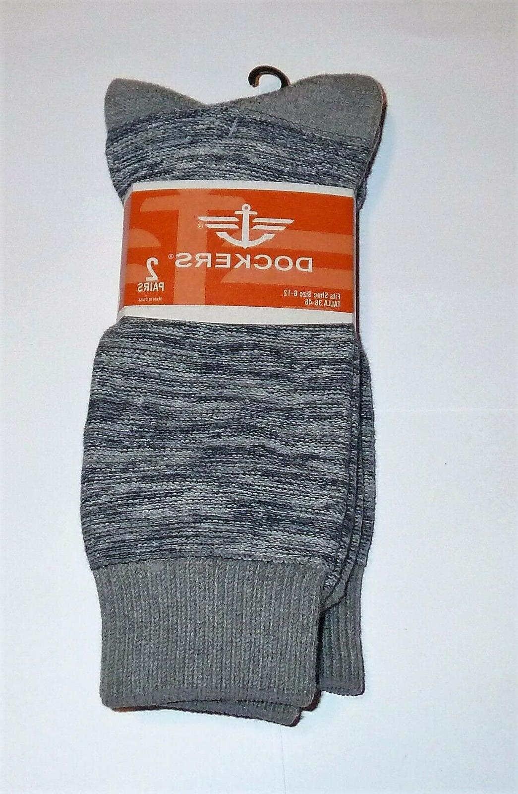 NEW Mens DOCKERS 2 pair Socks Soft Cotton Blend Shoe  size 6