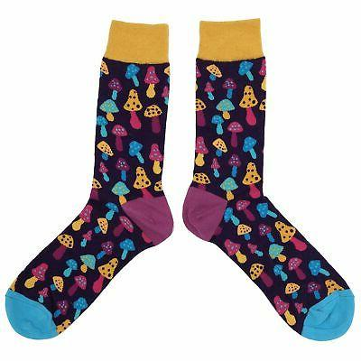 NWT Light Mushroom Socks Men 8-12 Multi-color Fun Sockfly