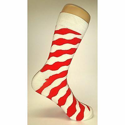 NWT Socks Novelty Men 8-12 Red and White Fun Sockfly