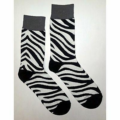 nwt zebra pattern dress socks novelty men