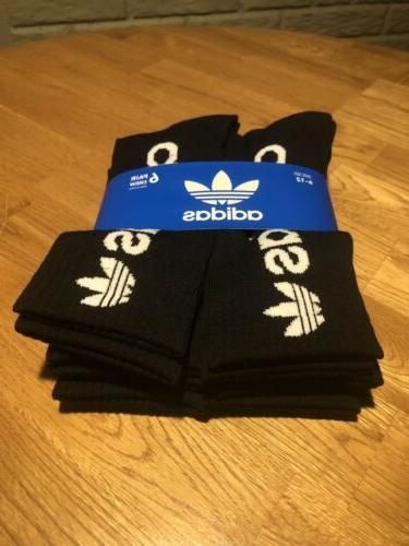 Adidas Originals Moisture Wicking Cushion Crew Black & White 6-12