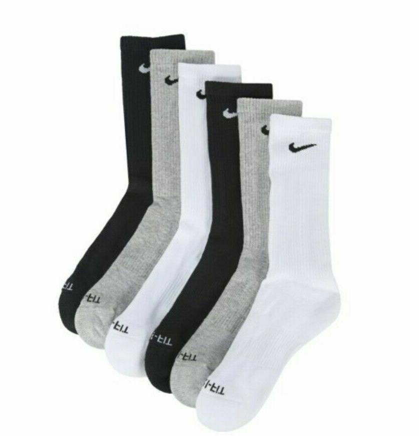 SALE Nike Dri Fit Dry Fit Black/White Crew 6 Pair Large