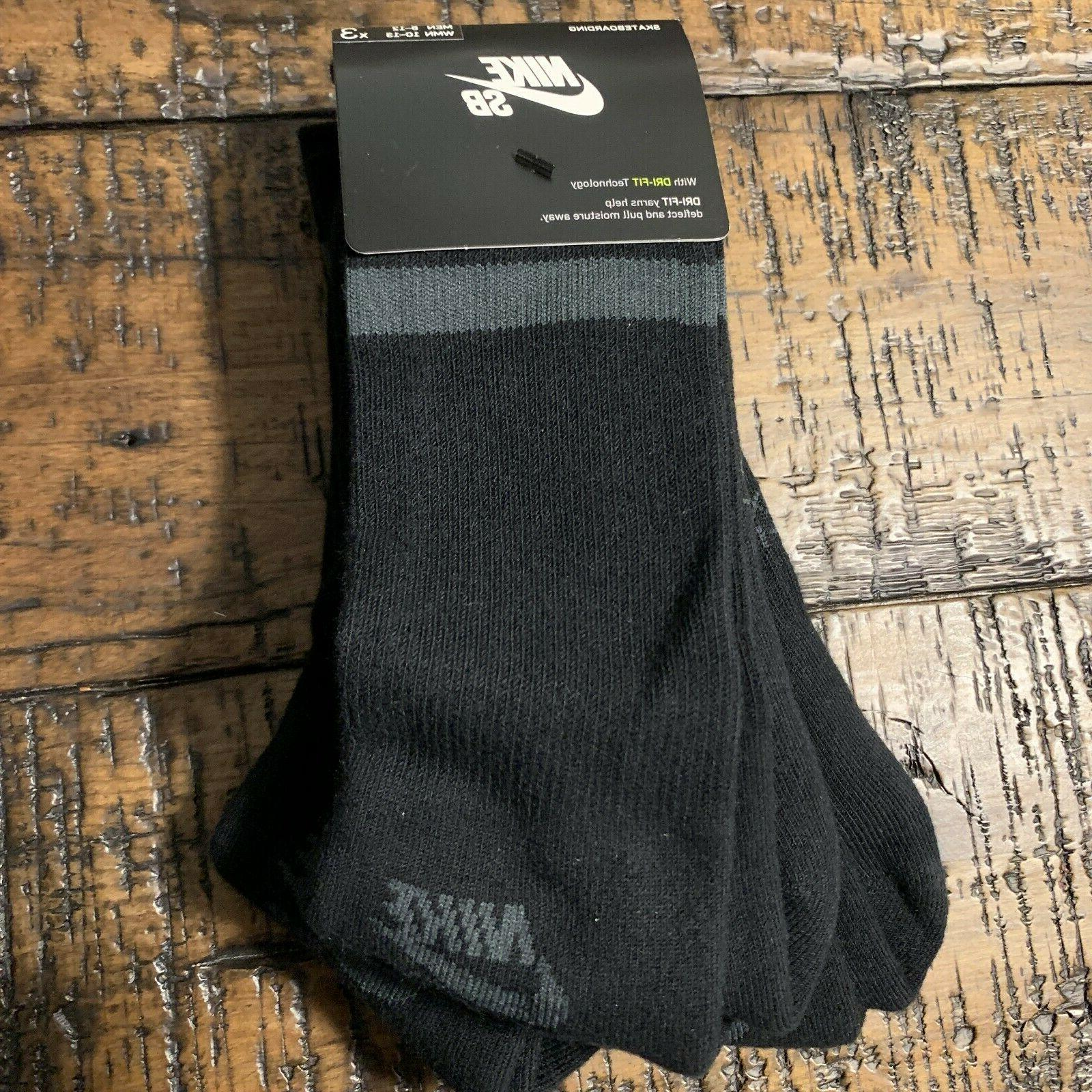 Nike SB Skateboarding Men's Crew Socks Pack Pairs SX5760-010 SZ L