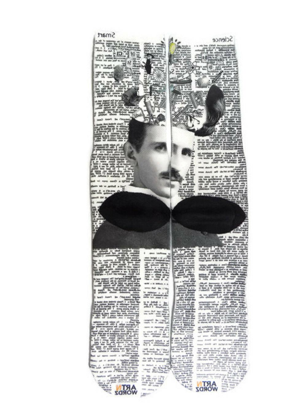 Art Wordz Scientist Nikola Tesla Print Art Unisex Socks
