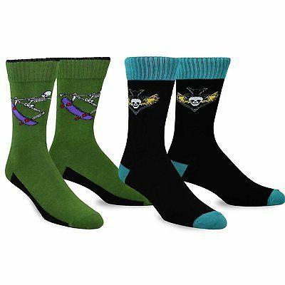 TeeHee Skull Skateboard Athletic Cotton Crew Socks 2-Pair Pa