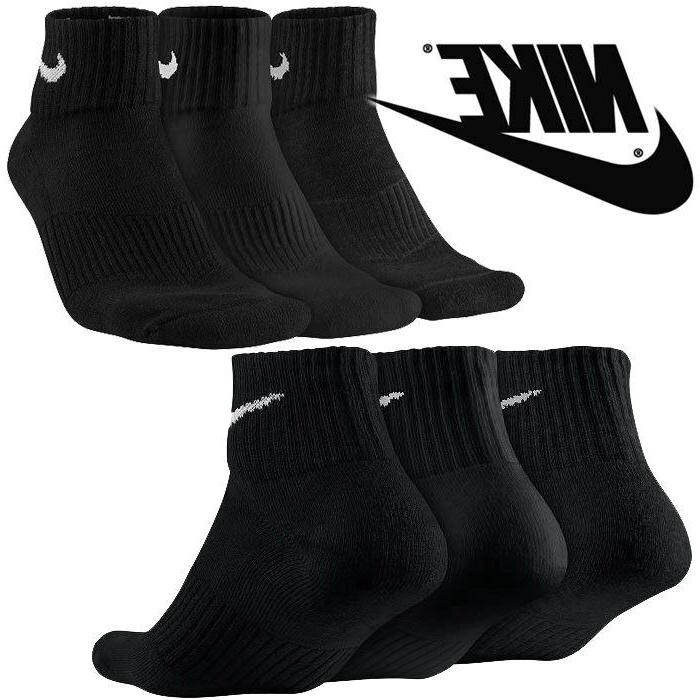 NIKE SOCKS 6 PAIR 12 NEW SOCKS QUARTER BLACK MEN'S SIZE 8-12