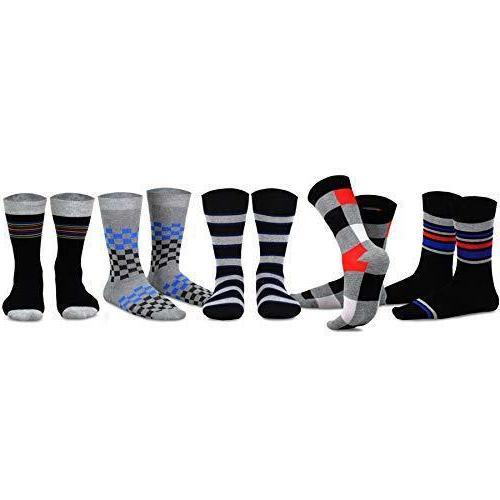 TeeHee Men's Cotton Socks 5-Pack Skull Wing Striped Black
