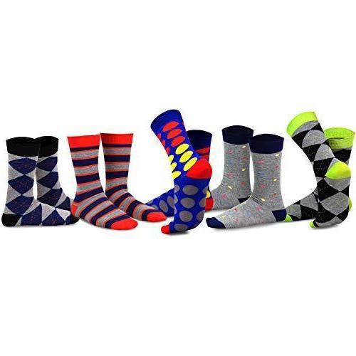 TeeHee Crew Socks 5-Pack Wing Striped Black