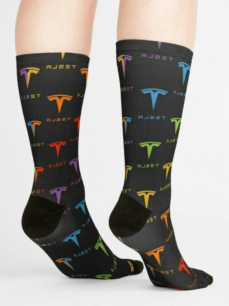 Tesla Repeating Rainbow Hosiery, Tesla Tesla Socks
