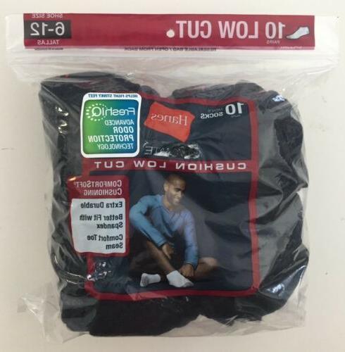 Hanes Ultimate Men's Black Low Cut Socks 10 Pairs Size 6-12