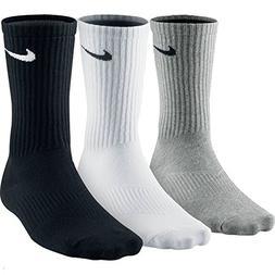 NIKE Men's Lightweight Crew Socks , White/Grey/Black, Large