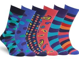 Easton Marlowe Mens 6 Pk Colorful Patterned Dress Socks, Eur