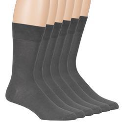 Men Bamboo 6 Pack Dress Thin Antibacterial Crew Socks Large