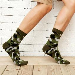 Men Camo Socks Fashion Patterned Crew Socks Comfort Cotton S
