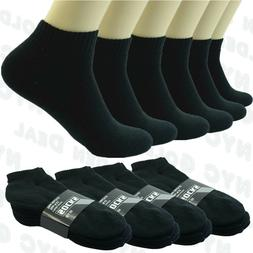 Men Plain Black Sports Athletic Thick Cotton Socks Ankle Low