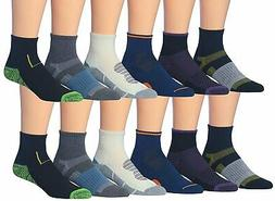 James Fiallo Men's 12 Pairs Athletic Sports Quarter Socks
