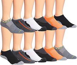James Fiallo Men's 12-Pairs Low Cut Athletic Socks,  Fits sh