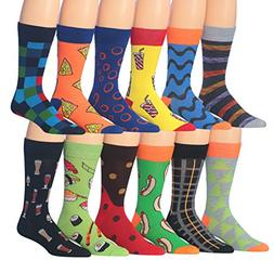 James Fiallo Men's 12 Pairs Novelty Colorful Patterned Funk