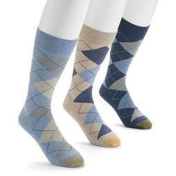 GOLD TOE Men's 3 pack Carlyle Argyle Crew Socks, 10-13, Blue