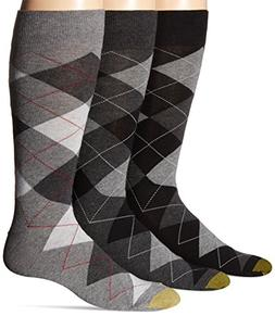 Gold Toe Men's 3-Pack Carlyle Argyle Crew Sock Black Argyle