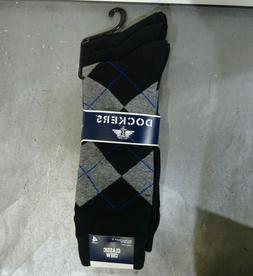 Dockers Men's 4 Pack Argyle Dress, Black, Sock Size:10-13/Sh