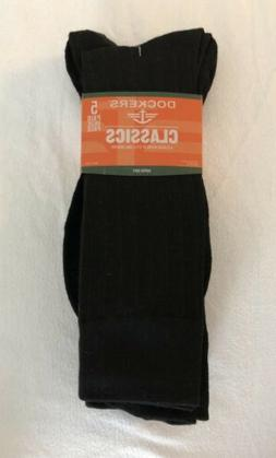 Dockers Men's 5 Pack Classics Ribbed Dress Crew Socks, Black