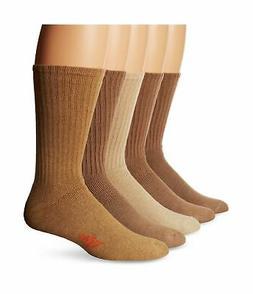 Dockers Men's 5 Pack Cushion Comfort Sport Crew Socks Khaki