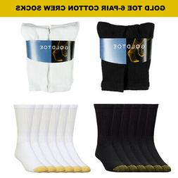 Goldtoe Men's 6 Pack Cotton Athletic Crew Socks 10-13