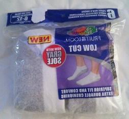 FRUIT OF THE LOOM Men's 6 pack low cut socks WHITE NWT