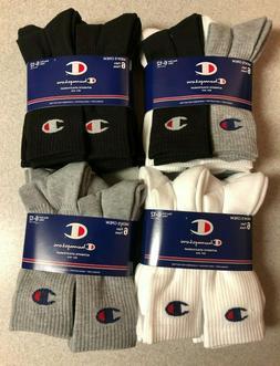 Men's Champion 6 Pair Black White Crew Socks Shoe Size 6-12