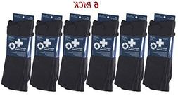 James Fiallo Men's 6-Pair Diabetic Dress Crew Cotton Socks,