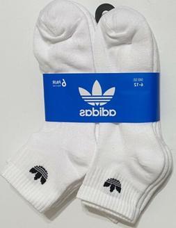 Adidas Men's 6-Pair Quarter Crew  Socks  White