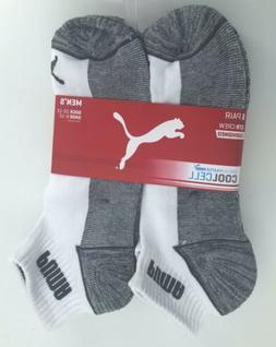 PUMA Men's 6-Pair Quarter Crew Socks White Grey Cushioned 10