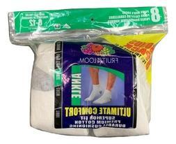 Men's 8 Pk Fruit Of The Loom Ankle Socks Premium Cotton Dura