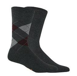 Dockers Men's Argyle/Solid Crew Socks 2 Pair Charcoal