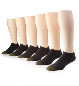 Gold Toe Men's Black Cotton No Show Athletic Sock 6 pair - S